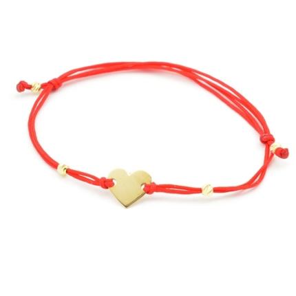 Złota bransoletka sznurkowa – serce