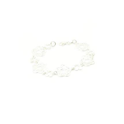 Srebrna bransoletka gładka – kwiatki