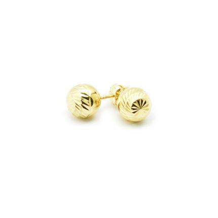 Złote kolczyki kulki diamentowane – 9 mm