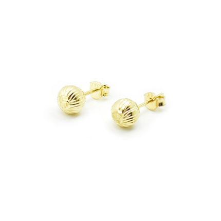Złote kolczyki kulki diamentowane – 7 mm
