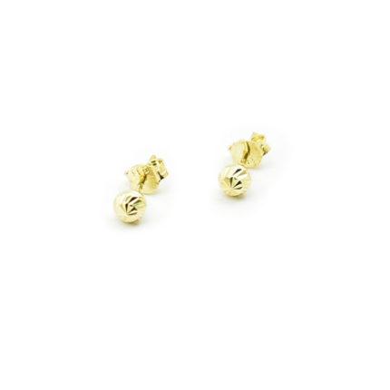 Złote kolczyki kulki diamentowane – 4 mm