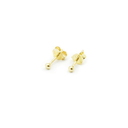 Złote kolczyki kulki gładkie – 2 mm