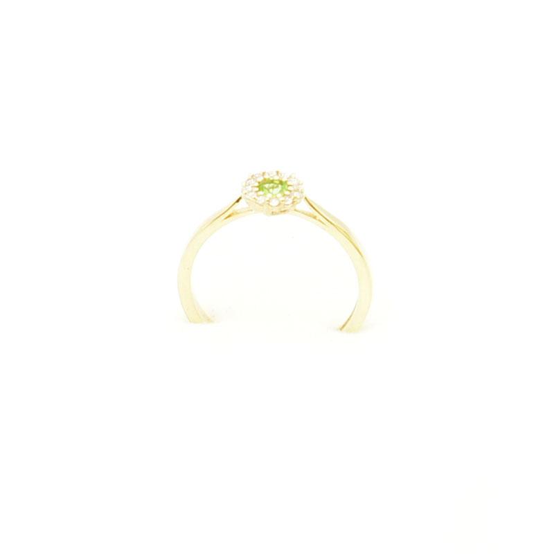 Klayczny złoty pierścionek z sułtanitem.