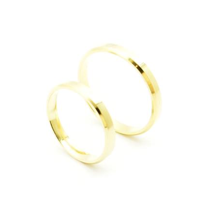 Klasyczne obrączki ślubne płaskie fasetowane 3 mm