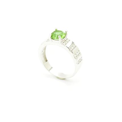 Srebrny pierścionek z sułtanitem i cyrkoniami