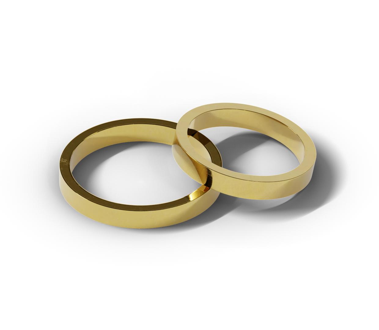 Płaskie obrączki ślubne o szerokości 3 mm
