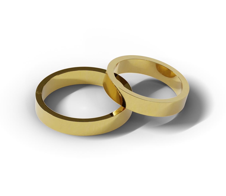 Klasyczne obrączki ślubne płaskie z żółtego złota.