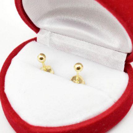 Złote kolczyki kulki, 3mm – gładkie