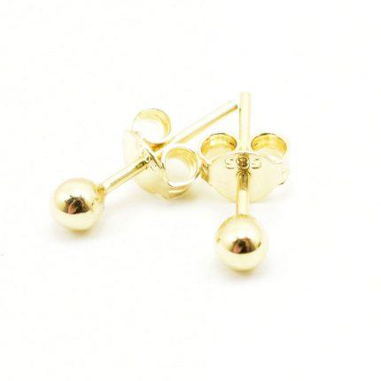 Złote kolczyki kulki, 5mm – gładkie