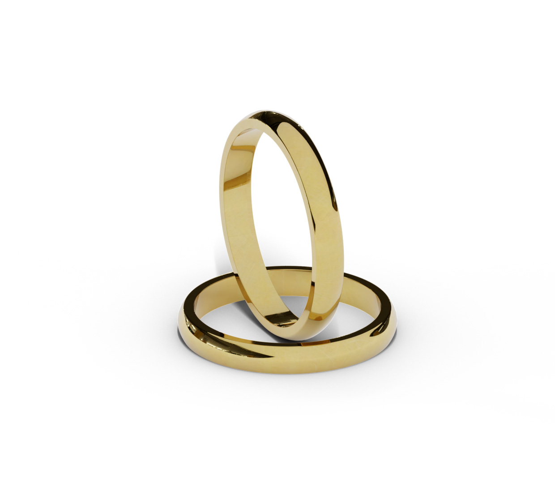 Półokrągłe obrączki ślubne 3 mm.