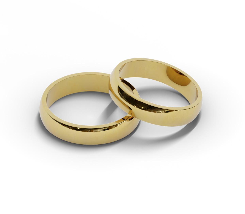 Para klasycznych obrączek ślubnych 4,5 mm