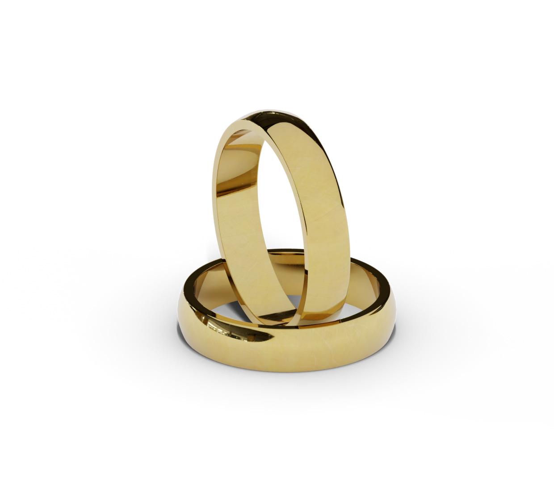 Półokrągłe obrączki ślubne, złote, klasyczne.