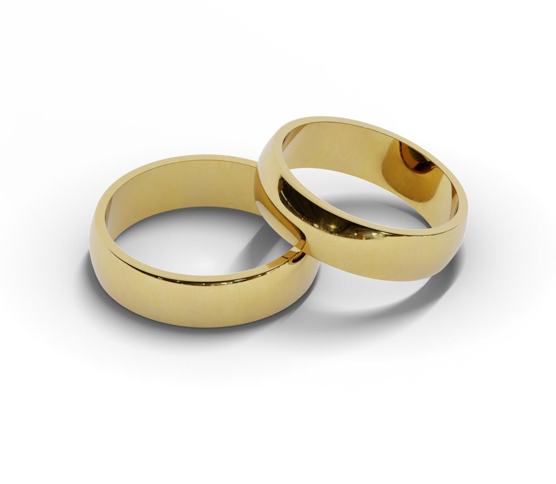Półokrągłe obrączki ślubne próby 585.