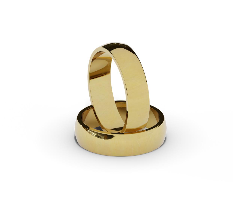 Półokrągłe obrączki ślubne ze złota próby 585.