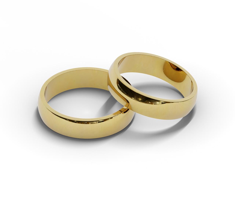 Para klasycznych półokrągłych obrączek ślubnych.