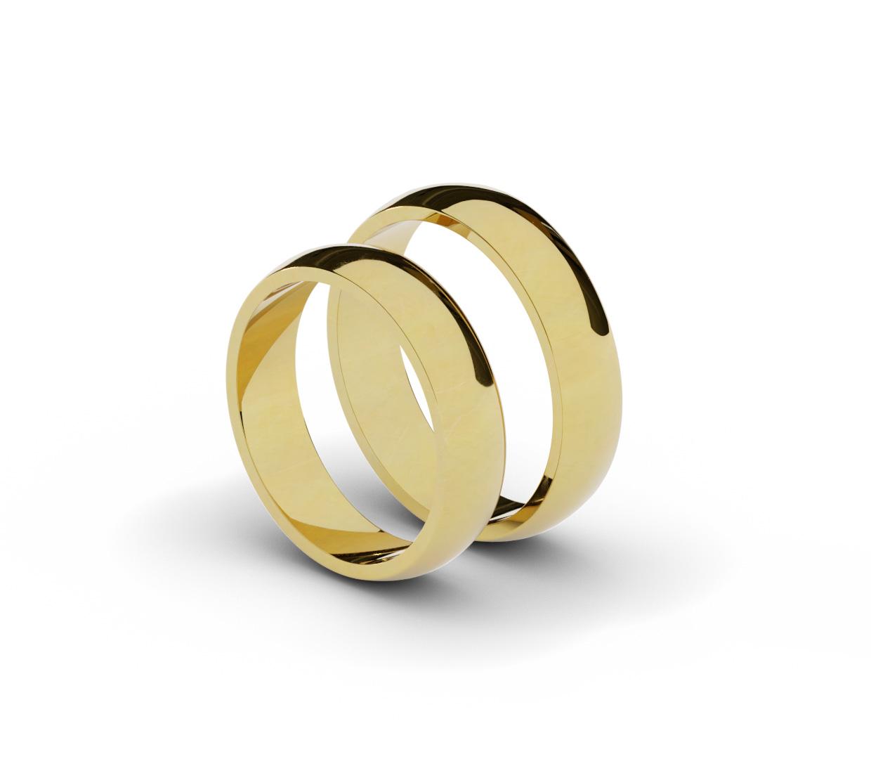 Para klasycznych obrączek ślubnych próby 585.
