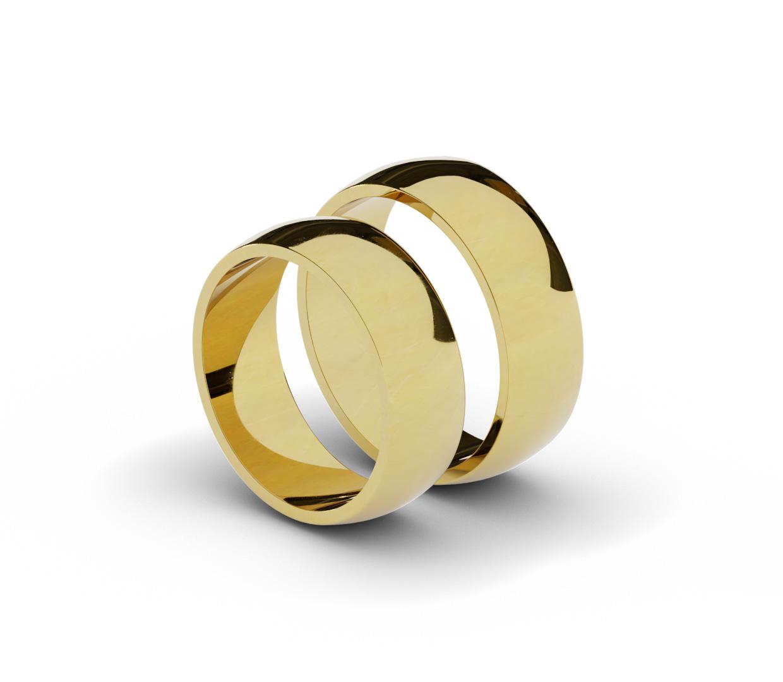 Para obrączek ślubnych, półokrągłych, 7 mm.