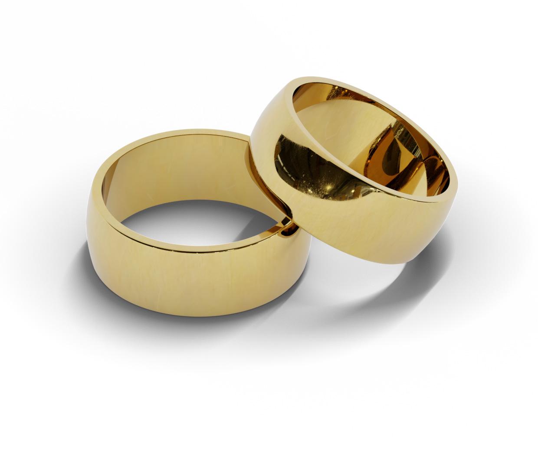 Para półokrągłych obrączek ślubnych 8 mm.