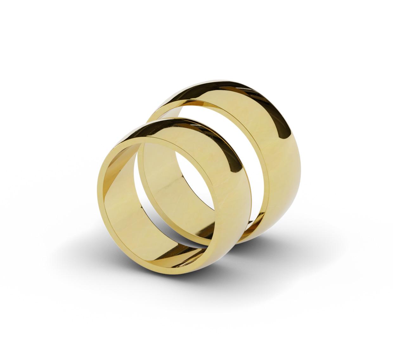 8 mm obrączki ślubne z żółtego złota.