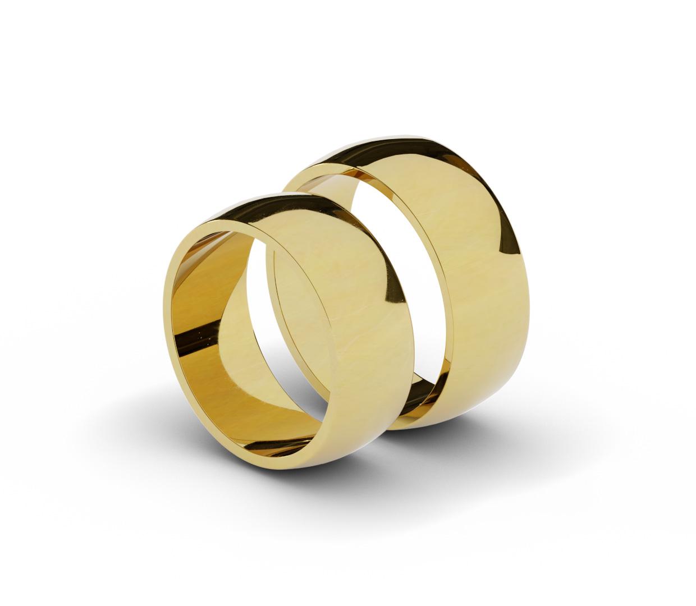Solidne, półokrągłe obrączki z żółtego złota.