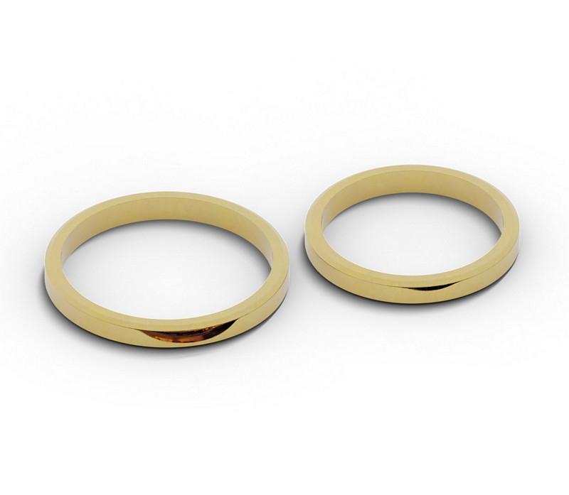 Para obrączek ślubnych, płaskich, ściętych 2,5 mm.