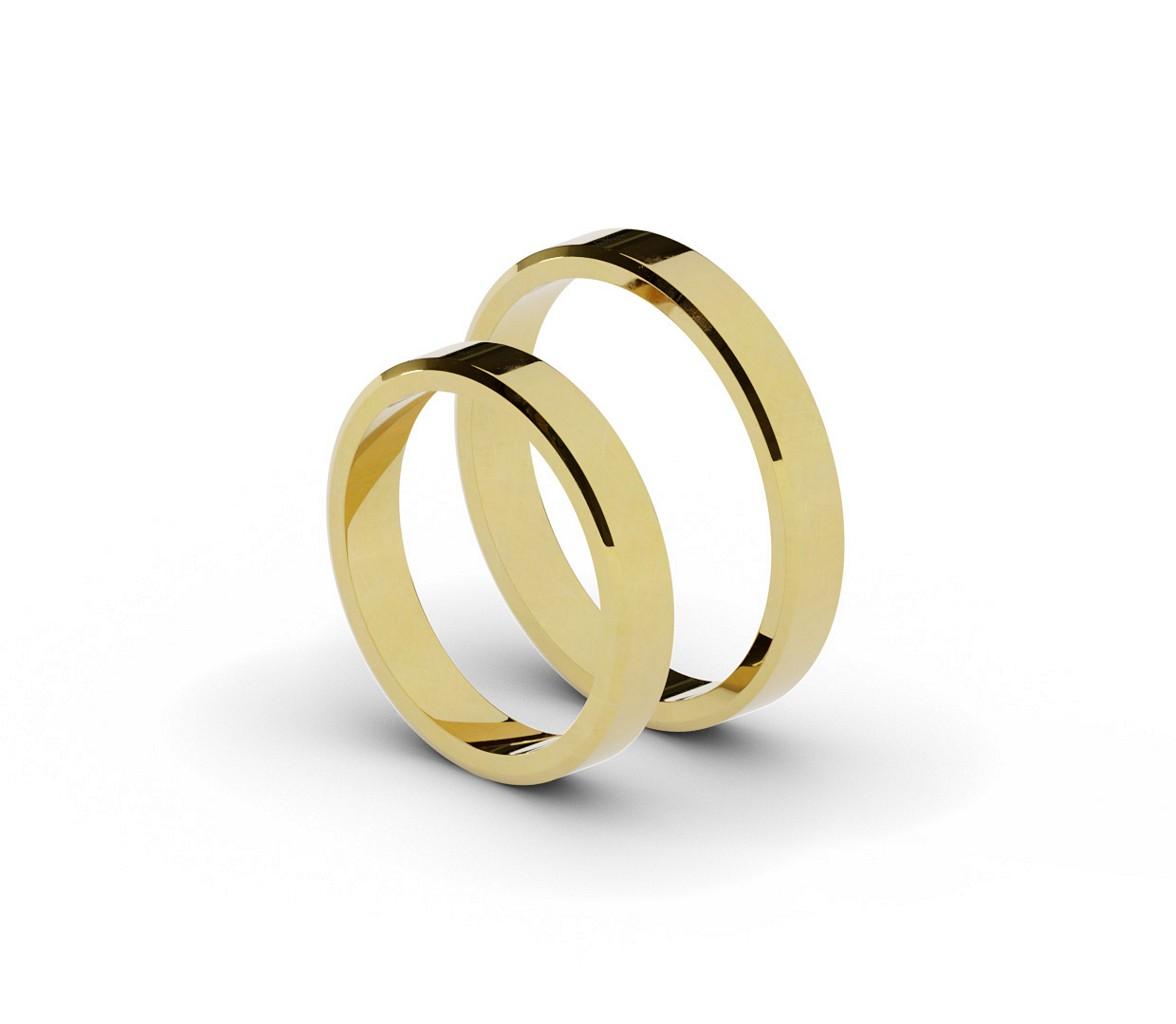 Klasyczne płaskie ścięte obrączki ślubne.