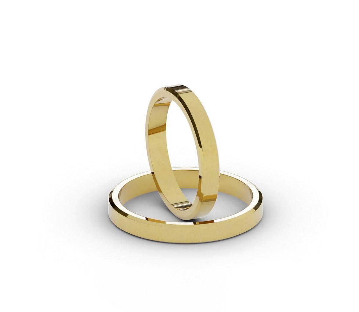 Płąskie ścięte obrączki ślubne ze złota próby 585.