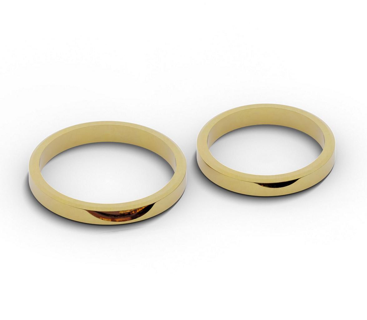 Złote obrączki ślubne - płaskie ścięte.