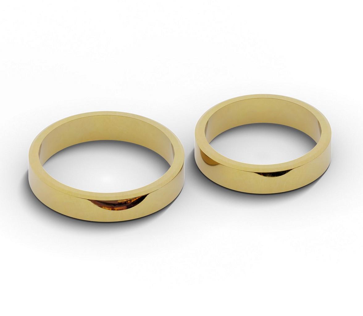 Klasyczne obrączki ślubne płaskie ścięte 4,5 mm.