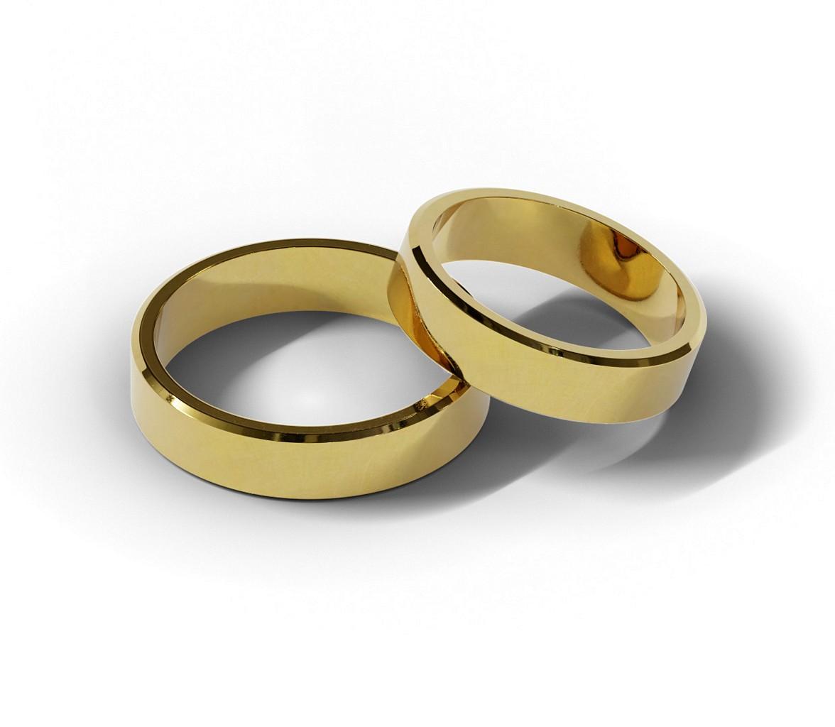 Klasyczne płaskie obrączki ślubne ze ściętym bokami.