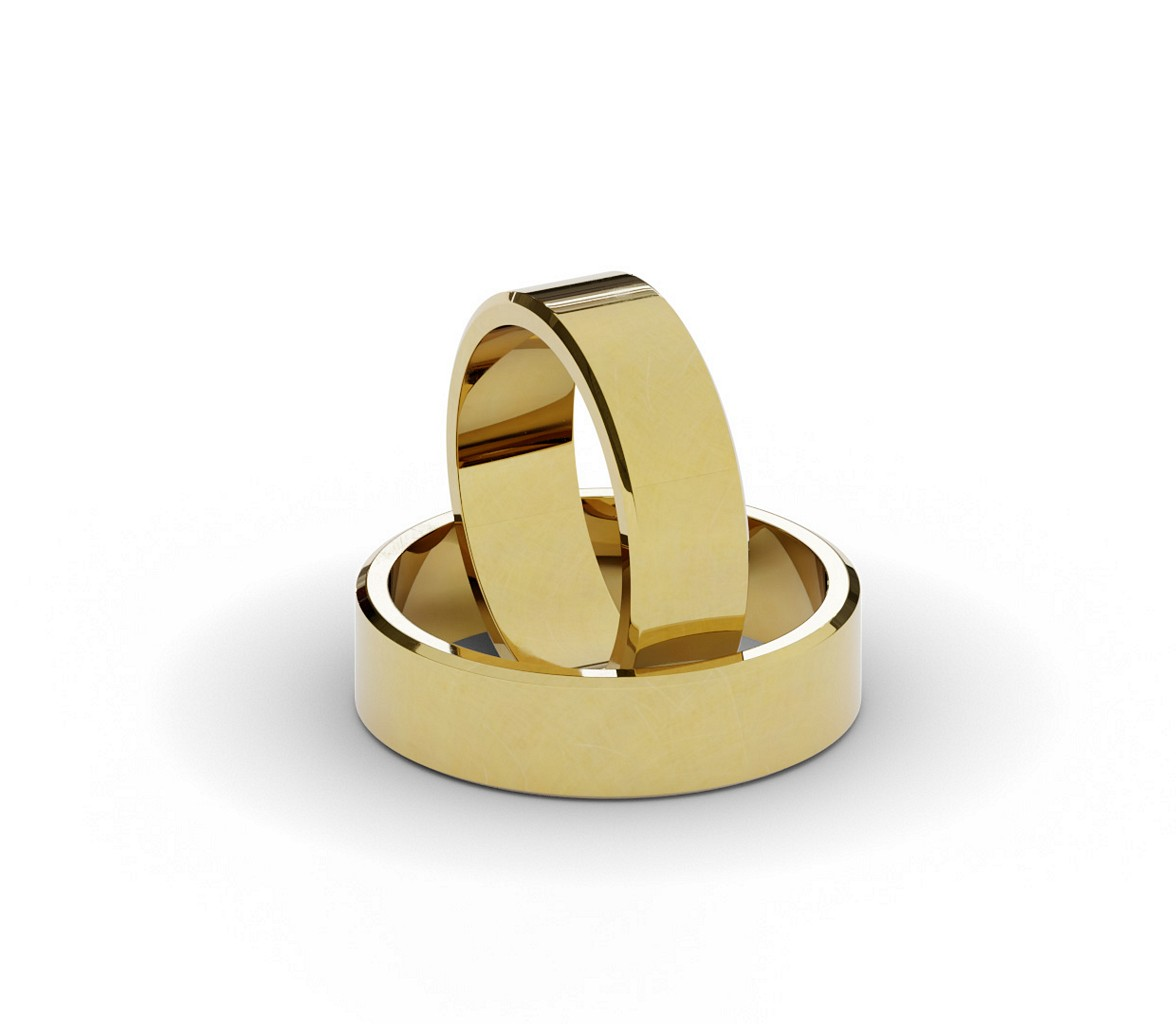 Para klasycznych obrączek ślubnych 6 mm.