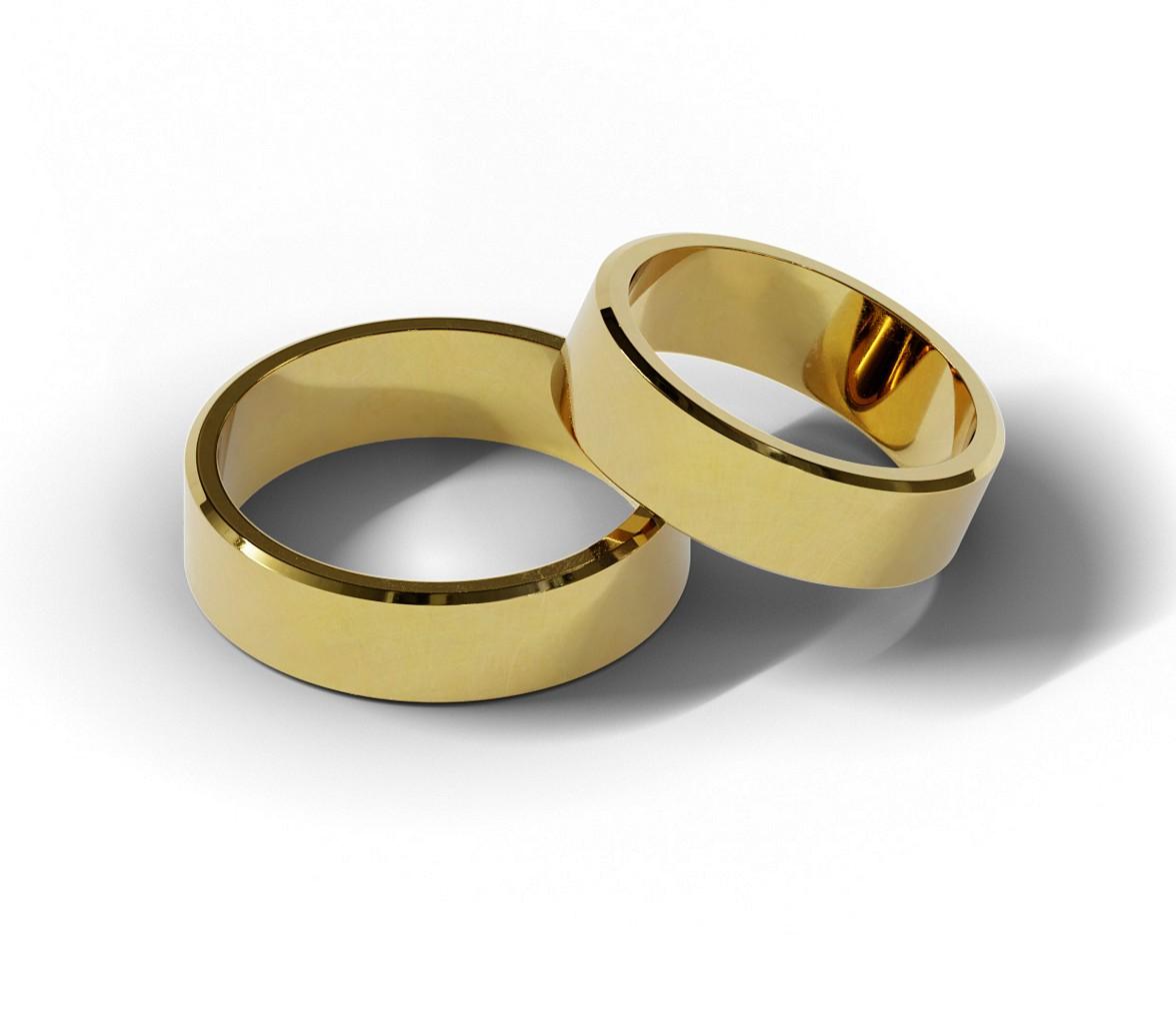 Klasyczne obrączki ślubne o szerokości 6 mm.