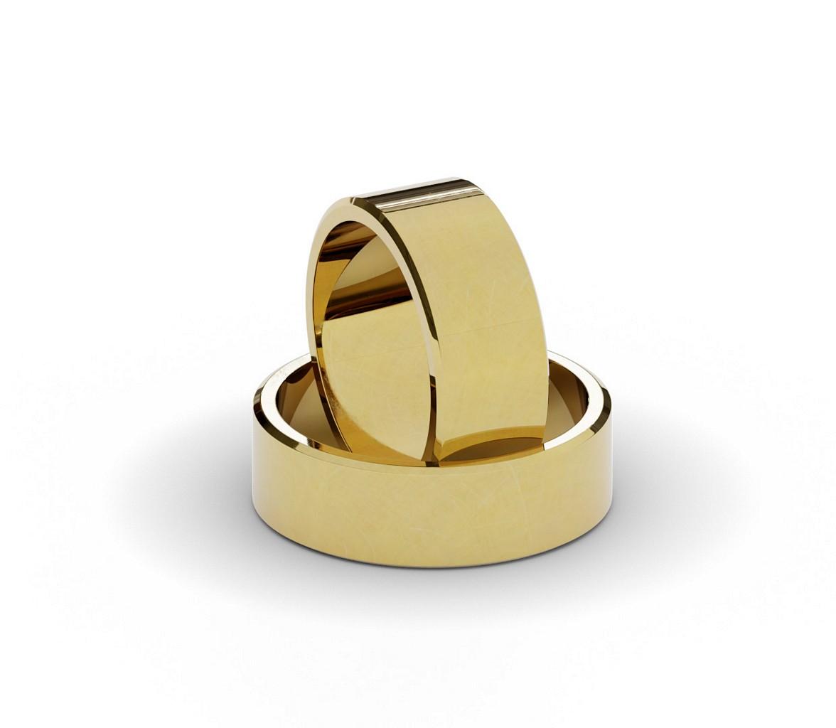 Płaskie ścięte obrączki ślubne 8 mm.