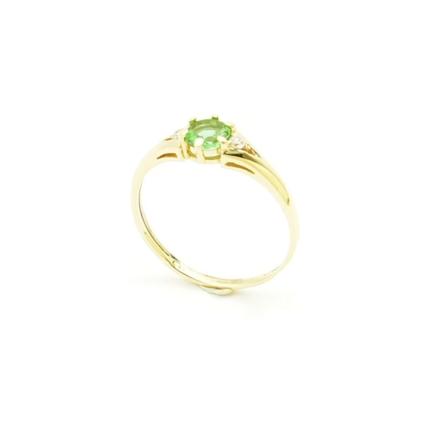 Złoty pierścionek z Zultanite i cyrkoniami