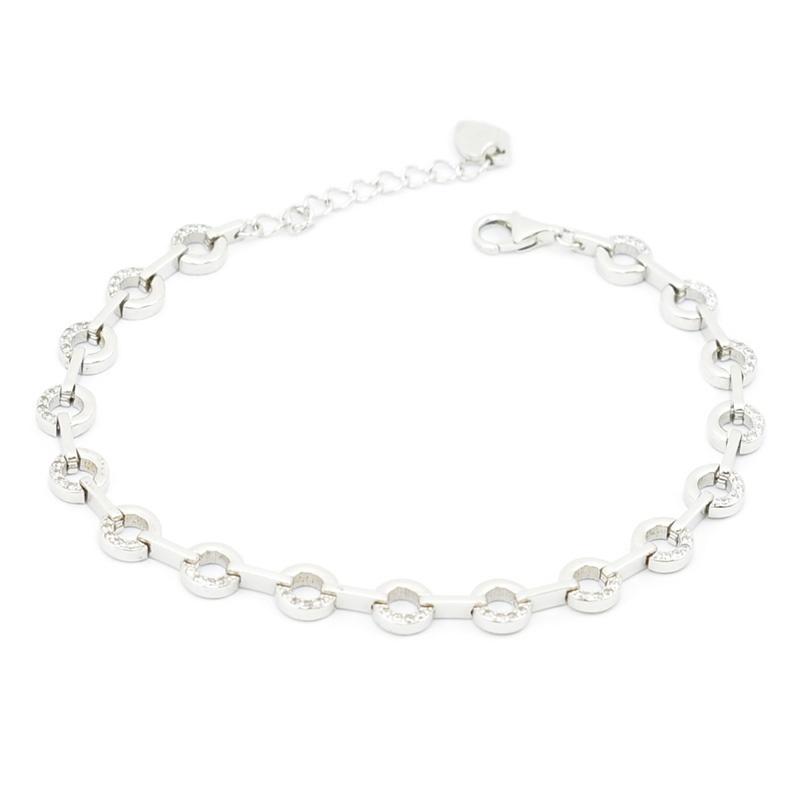Elegancka srebrna bransoletka z cyrkoniami i okręgami.