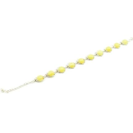 Srebrna bransoletka z żółtym bursztynem