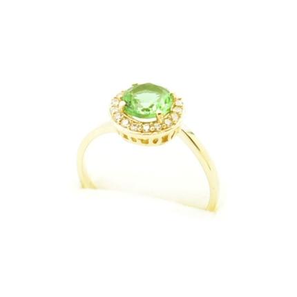 Złoty pierścionek z Sułtanitem i cyrkoniami
