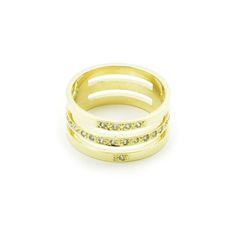 Szeroki pierścionek z trzech obrączek