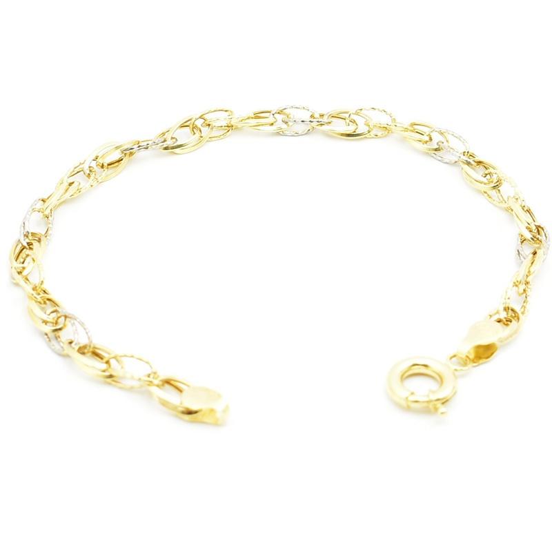 Złota bransoletka z żółtego i białego złota.