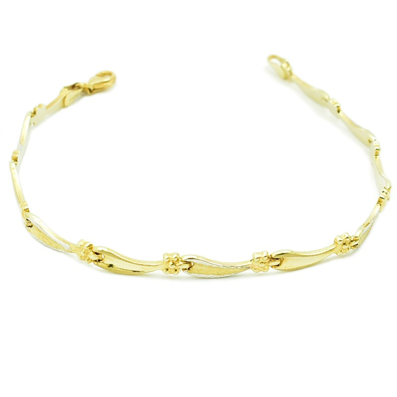 Złota bransoletka z dętych ogniwek.