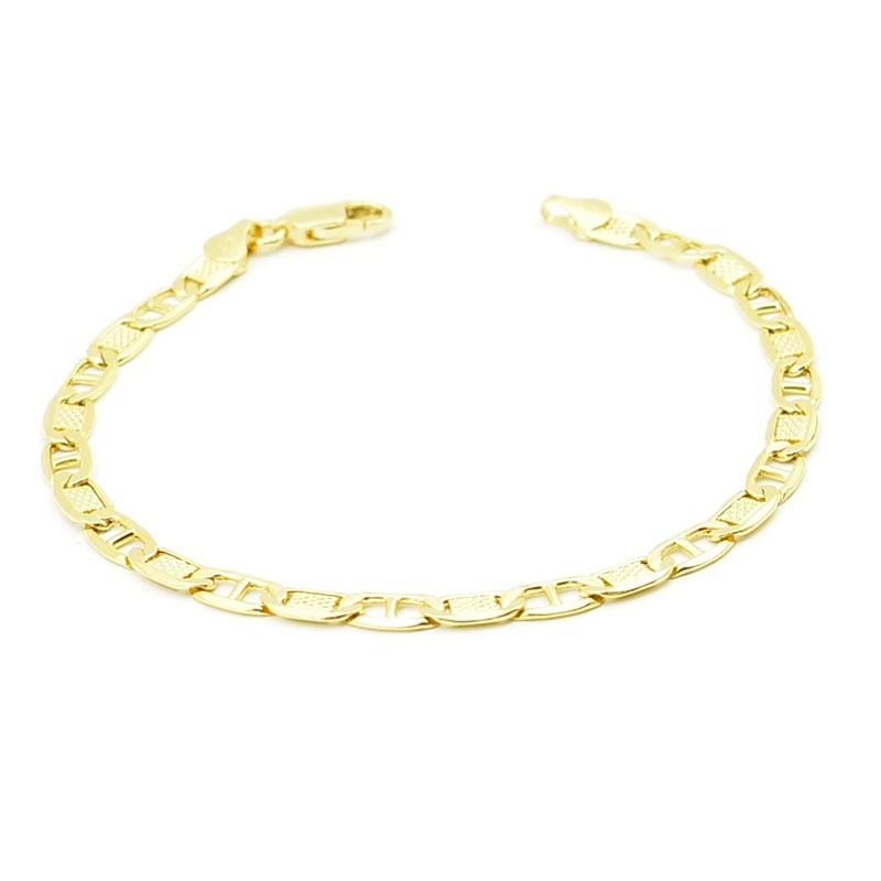 Złota bransoletka - pancerka z poprzeczką ze złota próby 585.