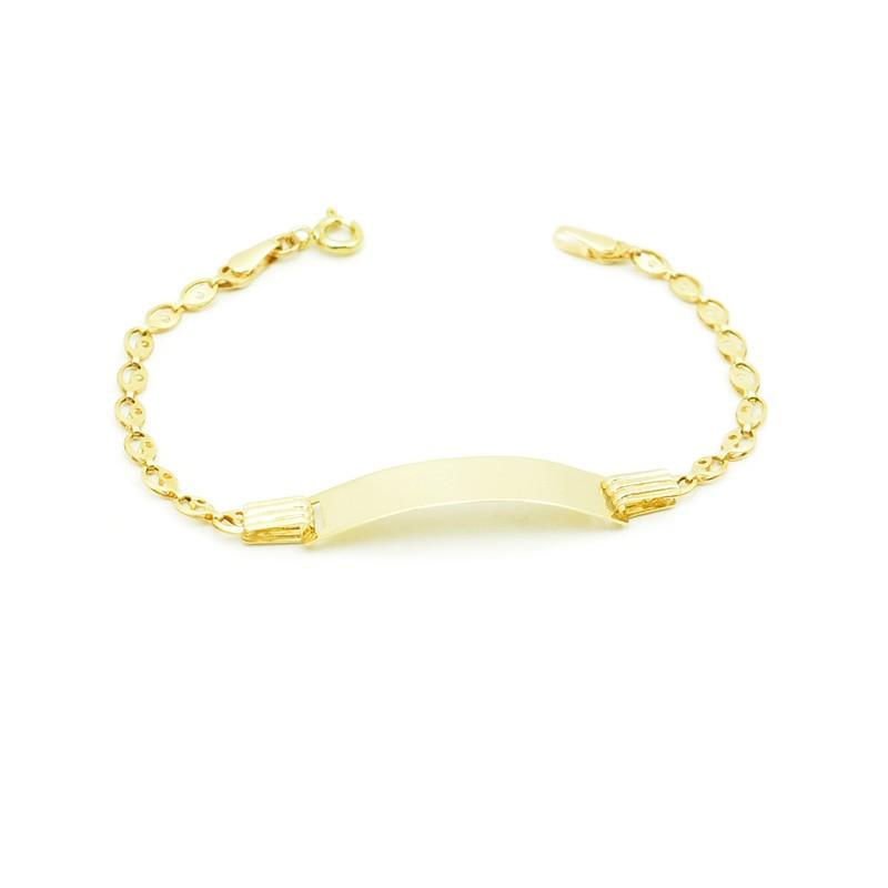 Złota bransoletka z blaszką dla dziecka.