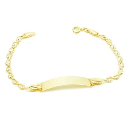 Złota bransoletka z blaszką do grawerowania – serduszka