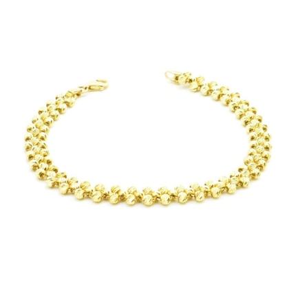 Złota bransoleta z diamentowanych kulek 7,47 g