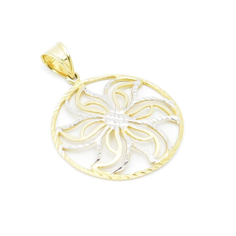 Złoty kwiatek - ażurowa zawieszka.