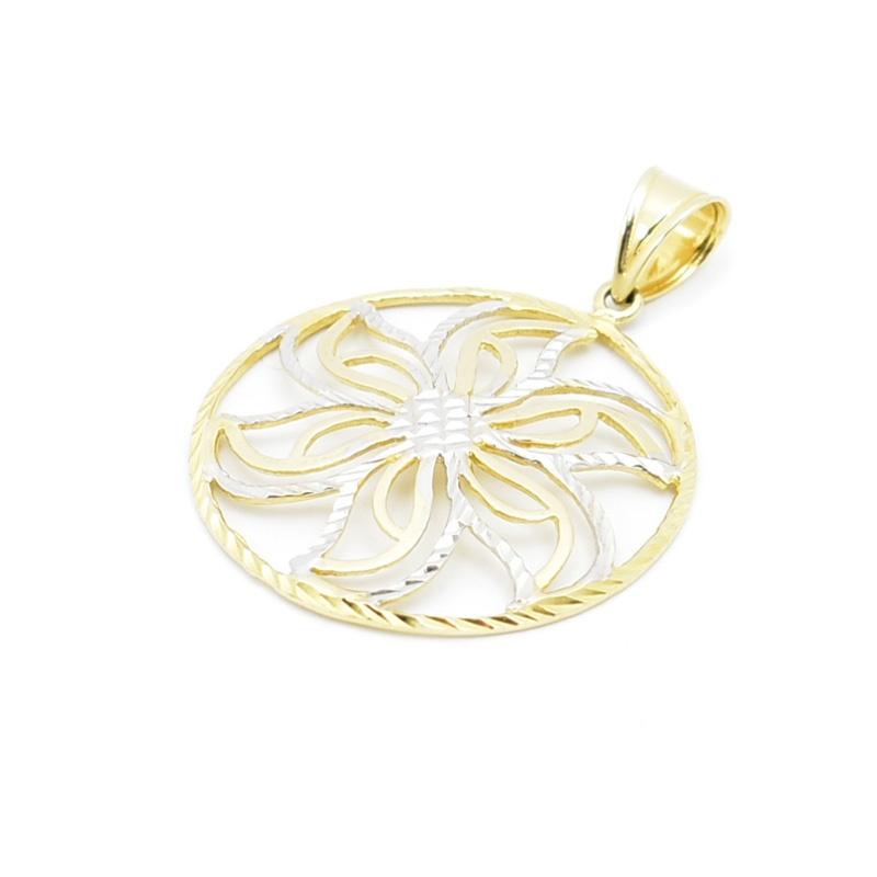 Złota zawieszka - ażurowy kwiatek.