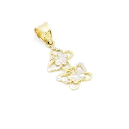 Złota zawieszka – ażurowe motylki