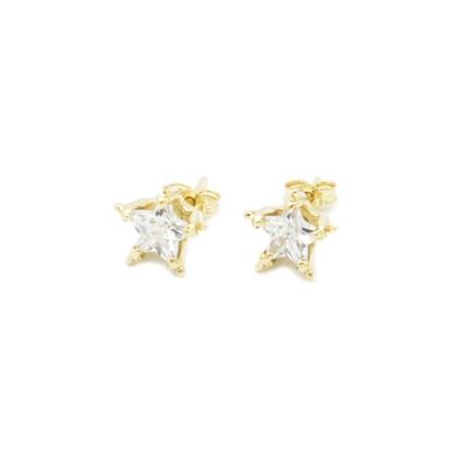 Złote kolczyki z cyrkoniami – gwiazdki 333