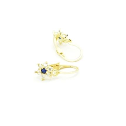 Złote kolczyki z szafirami i cyrkoniami – kwiatki