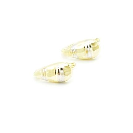 Złote kolczyki bez kamieni żółto białe